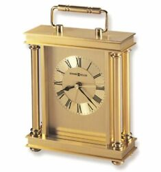 New HOWARD MILLER Brushed & Polished Brass AUDRA TABLE CLOCK, Roman Numerals