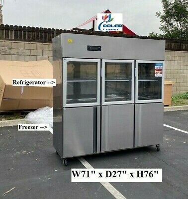 New 72 Commercial 6 Door Refrigerator Freezer Combo Reach In Upright Model Rg46