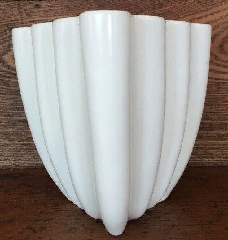 Art pottery wavy ruffled vase planter off white ivory triangle stoneware vintage