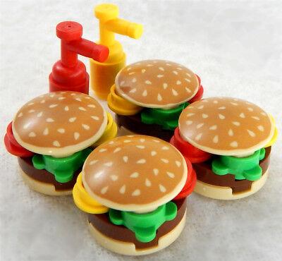 4 NEW LEGO BURGERS ketchup mustard minifig hamburger lot food minifigure figure