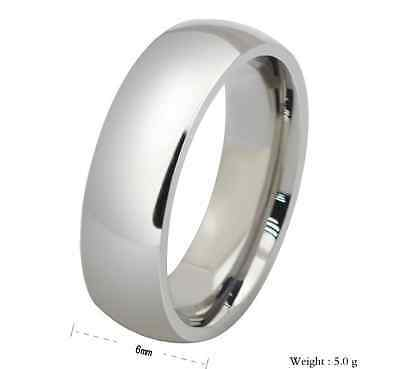 Unisex Stainless Steel 316L Silver Comfort Fit Plain Wedding Ring & Band - 6mm Comfort Fit Plain Band