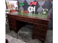 BIG S A L E Chesterfield 5' x 3' Large Green Leather Top Double Pedestal Writing Desk - UK Delivery
