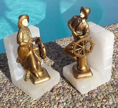 Used, LADY CAPTAIN ~ NAUTICAL BOOKENDS ~ ONYX BASES ~ CELLULOID FACES ~ ART DECO ERA for sale  Jackson