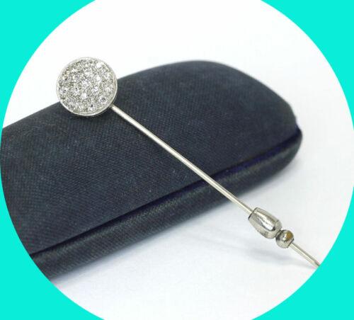 ".40CT VS2 Platinum antique diamond stick hat lapel pin 14K WG 18 mine cut 7/16""D"