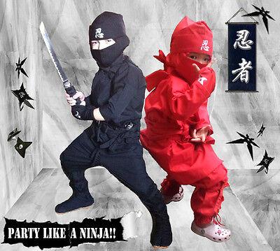Ninja Uniform und Kostüm für Kinder! (Schwarz oder Rot) aus Japan! Set! (de)