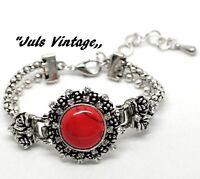 Bracciale Vintage Anni'50, Opale-rosso Cabochon,topazi Su Lega Argento-brunito -  - ebay.it