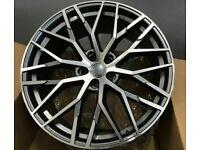 """x4 20"""" Audi R8 Style Alloys Fits Audi A4 A6 A5 A7 A8 Q5 SQ5 Grey Polished"""
