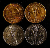 1942T, 1942 N, 1943TV, 1944NV, 1945NV Canada 5ct coins