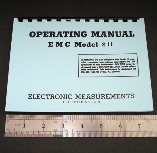 """Manual and Test Data for EMC Model 211 Tube Testers, Dated 1960 5.5x8"""" format"""