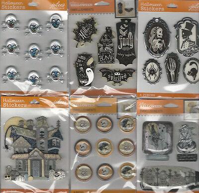 D Halloween (U CHOOSE  Assorted Jolee's HALLOWEEN orange label 3D Stickers ghosts jars)