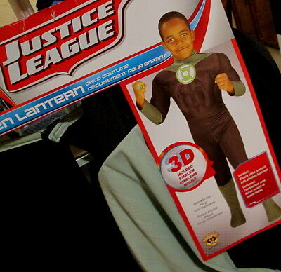 Justice League CHILD GREEN LANTERN COSTUME L Muscle Chest JUMPSUIT Boot Tops NEW](Green Lantern Costume Child)