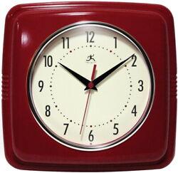 Red Retro Square Wall Clock Silent Movement Quartz Vintage Look Office Kitchen