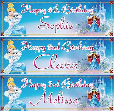 2 x personalized Cinderella birthday banner princess girls children kids party