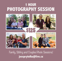 1 Hour Photography Sessions!