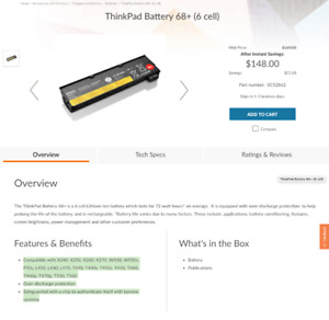 Lenovo 6 cell Battery 68+ 0c52862 for L450, L460, L470,, T440s