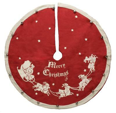 "Primitives by Kathy Red Nostaglia Christmas Tree Skirt Santa Design, 24"" Wide"