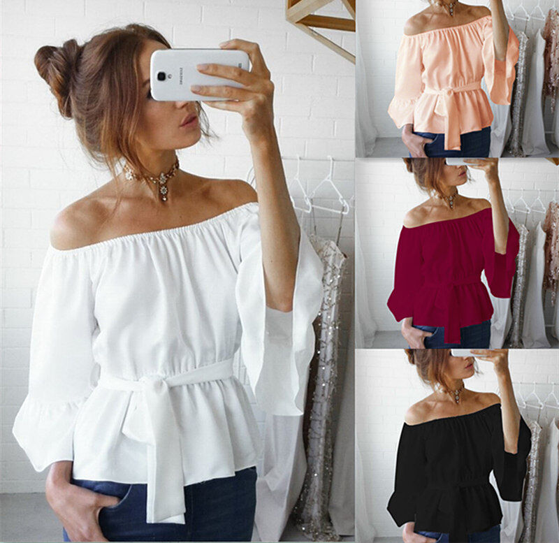 $3.99 - Fashion Women's Ladies Summer Long Sleeve Shirt Loose Casual Blouse Tops T-Shirt