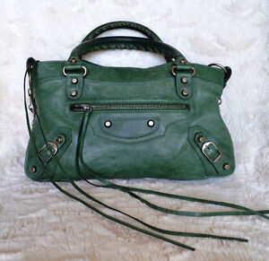 Balenciaga S/S 2004 Mystery Green First Satchel with Pewter Hard