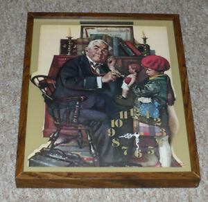 Norman Rockwell Clock - Doctor and Doll