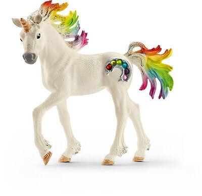 Schleich 70525 Plastic Rainbow Unicorn Foal Toy, White with Rainbow
