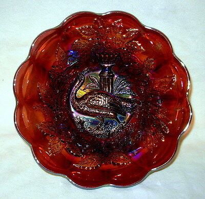 Millersburg Carnival Glass Amethyst Peacock Berry Bowl - Circa 1910 - No Bee!