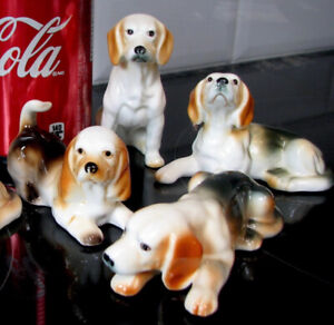 4 Chien Beagle Dog Giftcraft Bone China pour $15