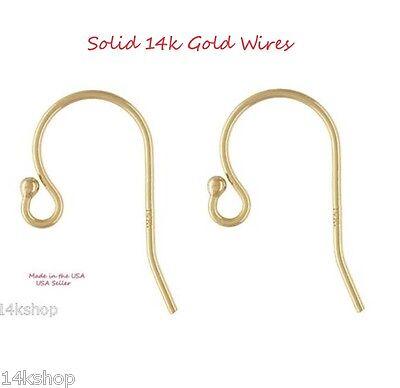 Real Solid 14k Gold Shepherd 22g French Hook Earring Ear Wire Ball DIY Findings