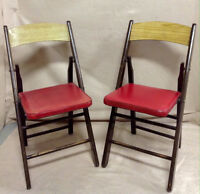 740: Pair of Vintage Leather and Wood Card Table Folding Chairs