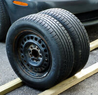 Set of 2 215/60/15 Uniroyal tires+rims.80% tread left (205/65/15