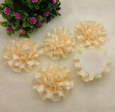 Ecru Satin Ribbon (5pcs Beige satin ribbon big Peony Flower Appliques/craft/Wedding decoration )