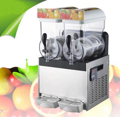 2 Tank Slush Puppie Machine Commercial Smoothie Maker Frozen Drink 110v Brandnew