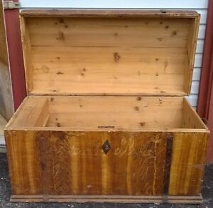 REDUCED! LARGE ANTIQUE OR VINTAGE WOOD STEAMER DOMED TRUNK