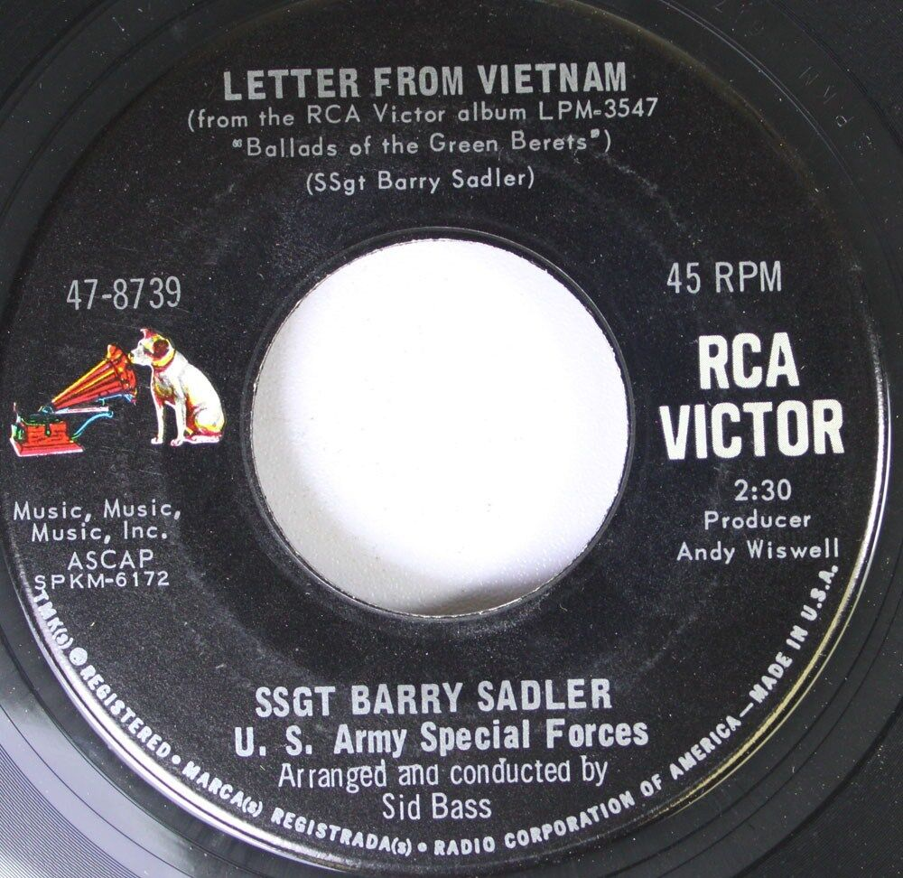 Pop 45 Ssgt Barry Sadler   Letter From Vietnam / The Ballad Of The