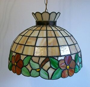 Grand Luminaire Suspendu - VINTAGE - Stained Glass Pendant
