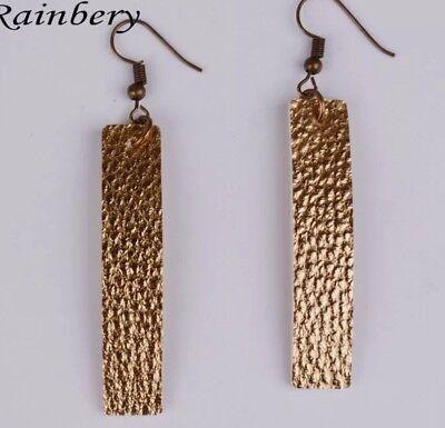 Gold Bar Leather Earrings Pebbled Leather Bar Earrings Hook