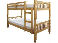 Solid, Brazilian, pine, bunk bed, sturdy, single, ortho, mattress, turns to single beds.