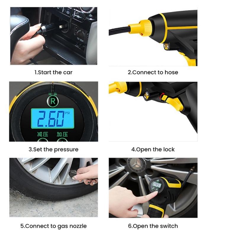 KFZ AutoKompressor 12 Volt 150PSI Auto Druckluft Elektrische Luftpumpe Manometer