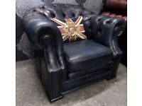 Fantastic Chesterfield Hump Back Club Arm Chair in Blue Leather - UK Delivery