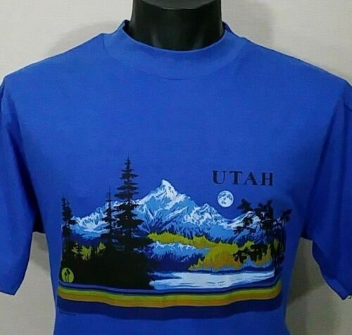 vintage 80s UTAH USA TOURIST SUNSET NATIONAL PARKS BLUE T Shirt L TEE