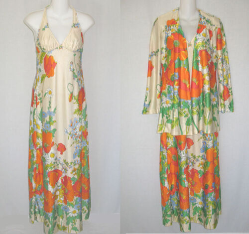 Vintage 60s Sandcastle Floral Flower Power Halter Maxi Dress Set Women