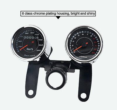 12V Motorcycle LED Backlight Odometer &Tachometer Speedometer Gauge With Bracket