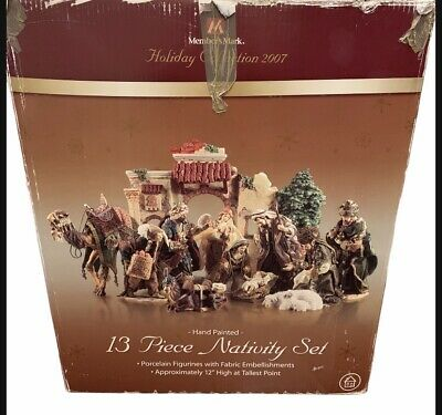Members Mark Hand Painted 13 Piece Porcelain Nativity Set 2007 In Original Box