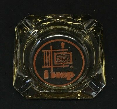 Vintage Ihop The International House Of Pancakes Glass Advertising Ashtray Amber