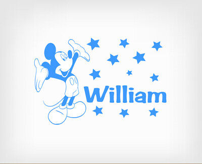 Boys Personalised Mickey Mouse Wall Stickers Art Vinyl Removable Decals DIY