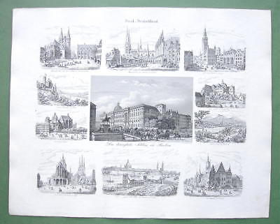 GERMANY Poland Gdansk Berlin Wroclaw Aachen - 1860 SCARCE Print Multiple Views