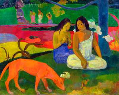 The Red Dog by Paul Gauguin - Girls Women Tahiti Island 8x10 Print Picture 1618