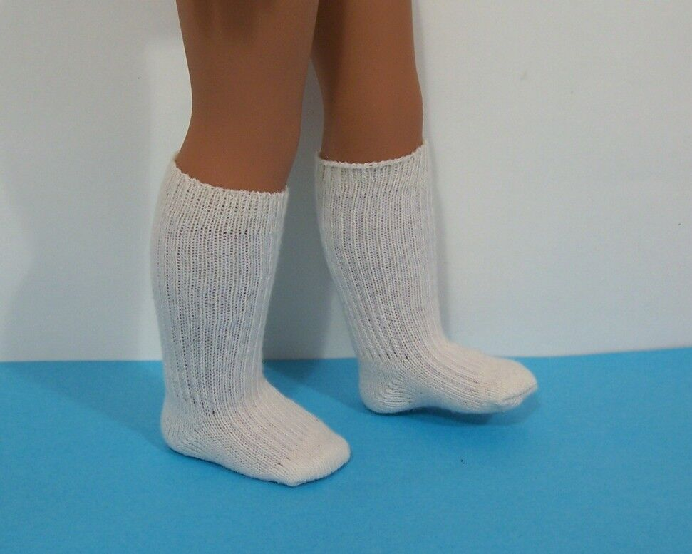 CREAM Thick Rib Knee Doll Socks For 14 American Girl Wellie