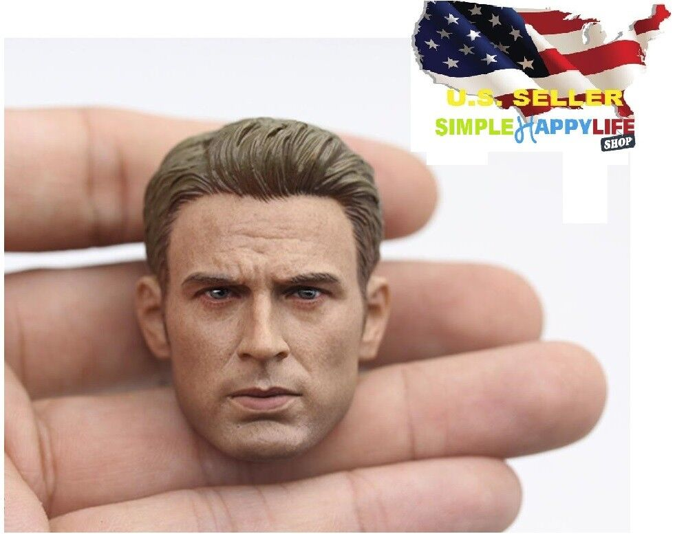 "NEW 1//6 Chris Evan Captain America Head 9.0 For Hot toys Phicen 12/"" figure ❶USA❶"