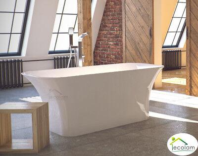 Freistehende Badewanne Wanne oval 160 x 70 cm Click Clack Mineralguss Design