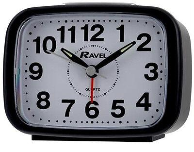 Ravel Quartz Silent Sweep Snooze Light, Bell/ Beep Alarm Clock Black RC008.03